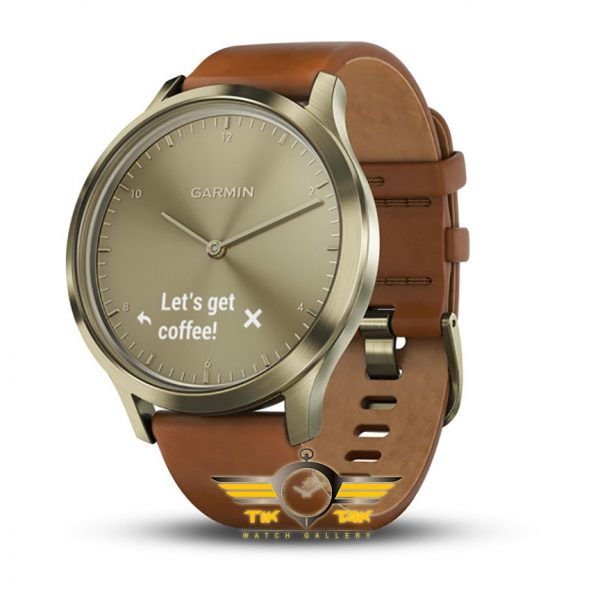 ساعت گارمین GARMIN VIVOMOVE HR GOLD LEATHER BAND